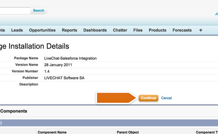 Proceeding with the installation of the Salesforce integration