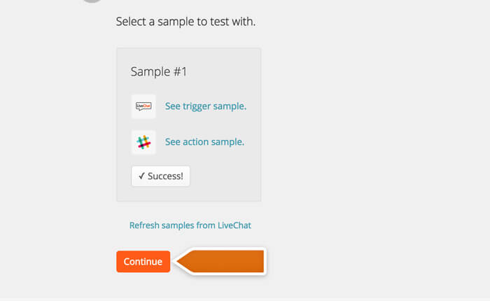 Finishing the test in Zapier