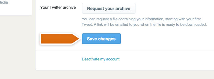 Saving email changes in Twitter