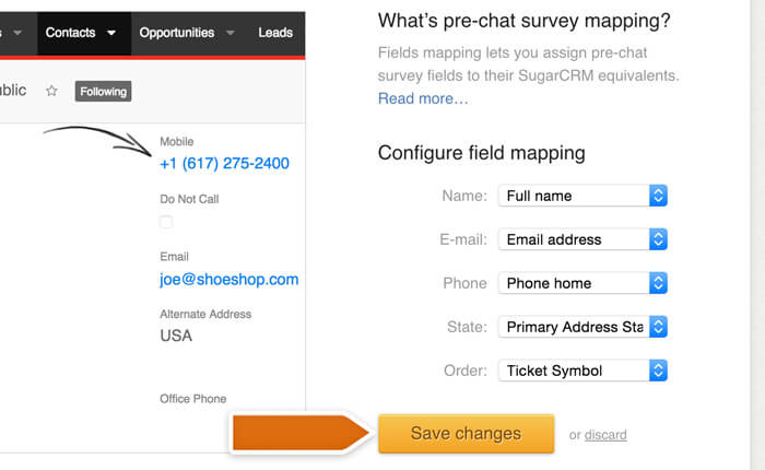 Saving fields mapping options in SugarCRM