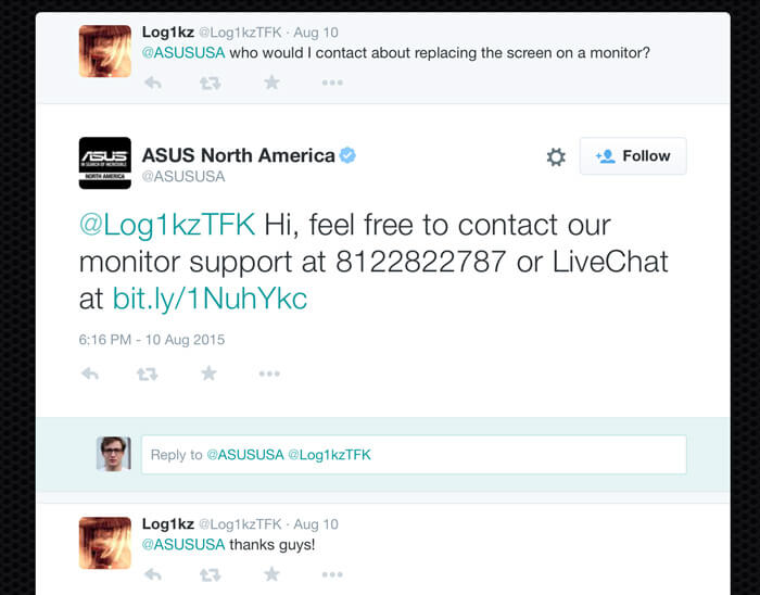 ASUS using direct chat links from LiveChat on Twitter