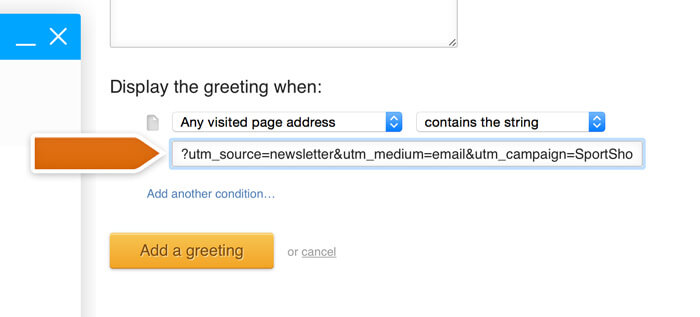 Adding link parameters to a greeting