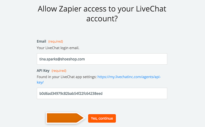 Integration with Evernote: Entering your LiveChat account data