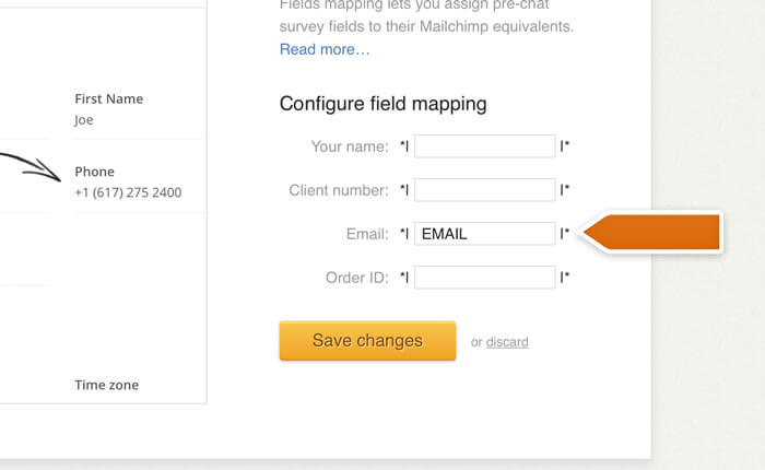 Mapping the email field in Mailchimp and LiveChat integration