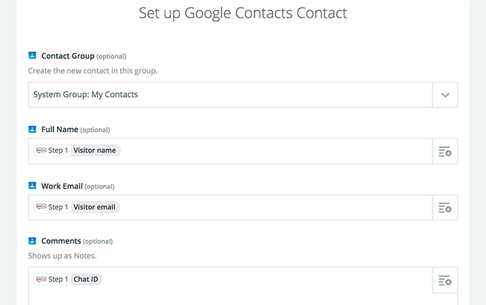 Setting up contact details