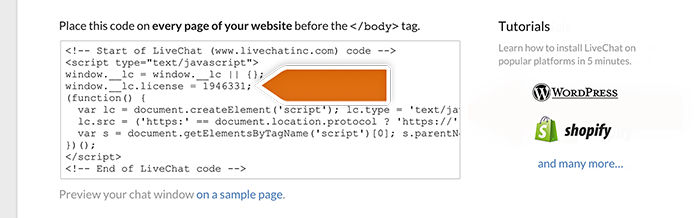 LiveChat tracking code