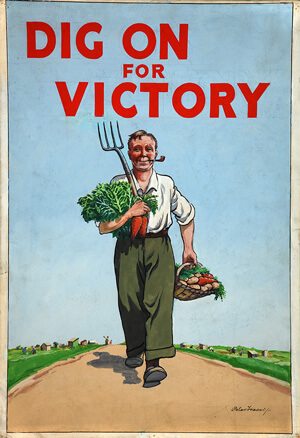 Dig on for victory WW2 call to action poster