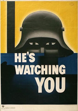He's watching you WW2 call to action poster