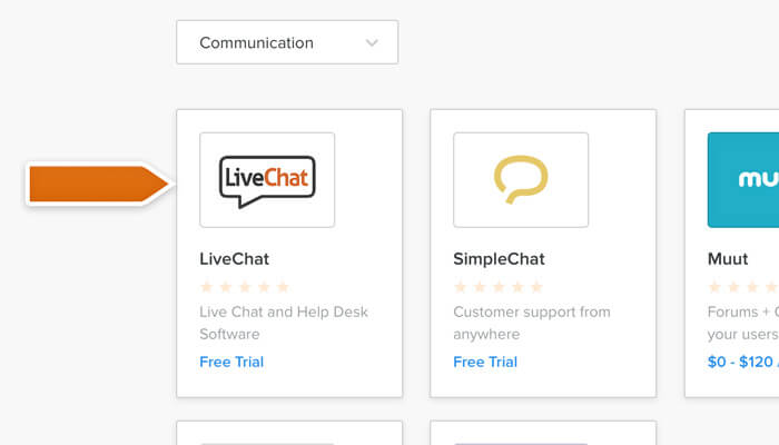 Selecting LiveChat from the Communication section in Weebly