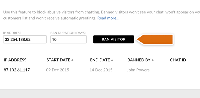 adding IP to banned visitors list