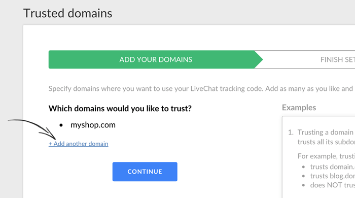 adding more trusted domains to livechat