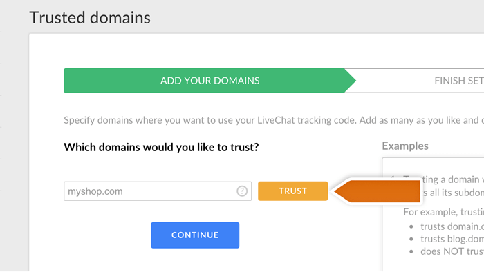 adding livechat trusted domains
