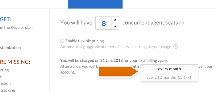 Adjusting the LiveChat billing cycle