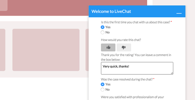 rating chat in the post-chat survey