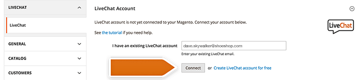 Connecting LiveChat account