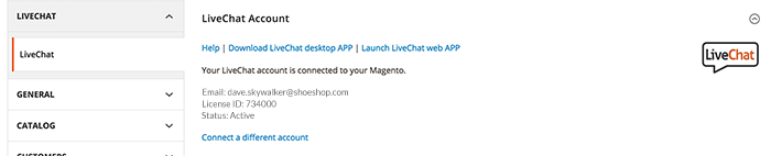 LiveChat and Magento 2 connected