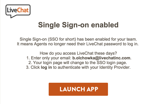 email to livechat agents after enabling sso