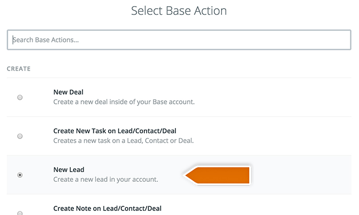 Base CRM integration: Choosing Base action