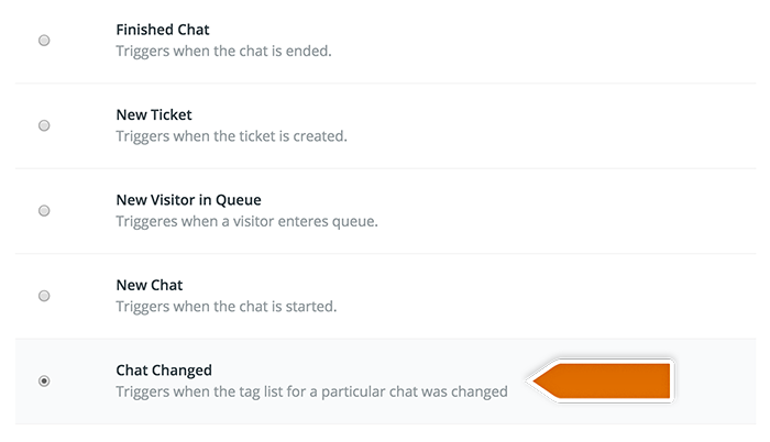 Integration with Toggl: selecting LiveChat trigger
