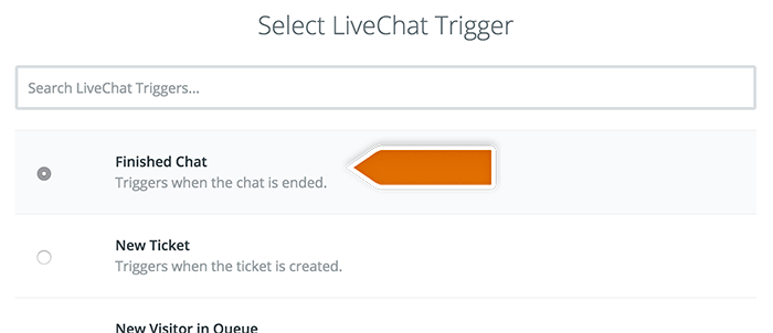Selecting LiveChat trigger