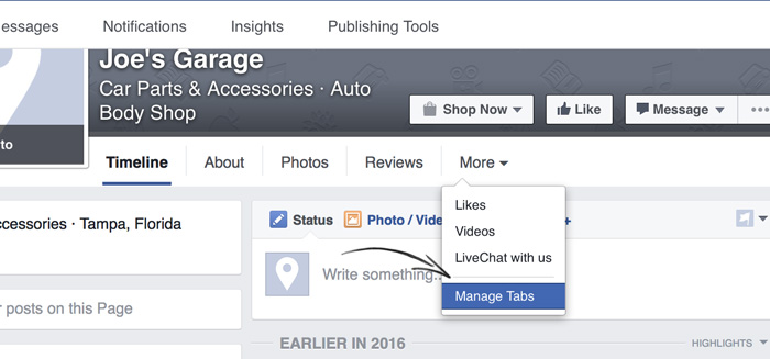 Reorganizing tabs on a Facebook Fan Page