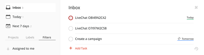 Integration with Todoist: A chat passed as a task