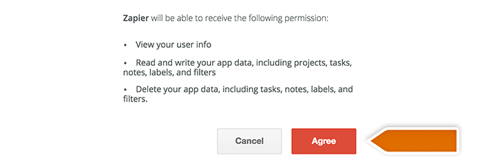 Integration with Todoist: Granting the access