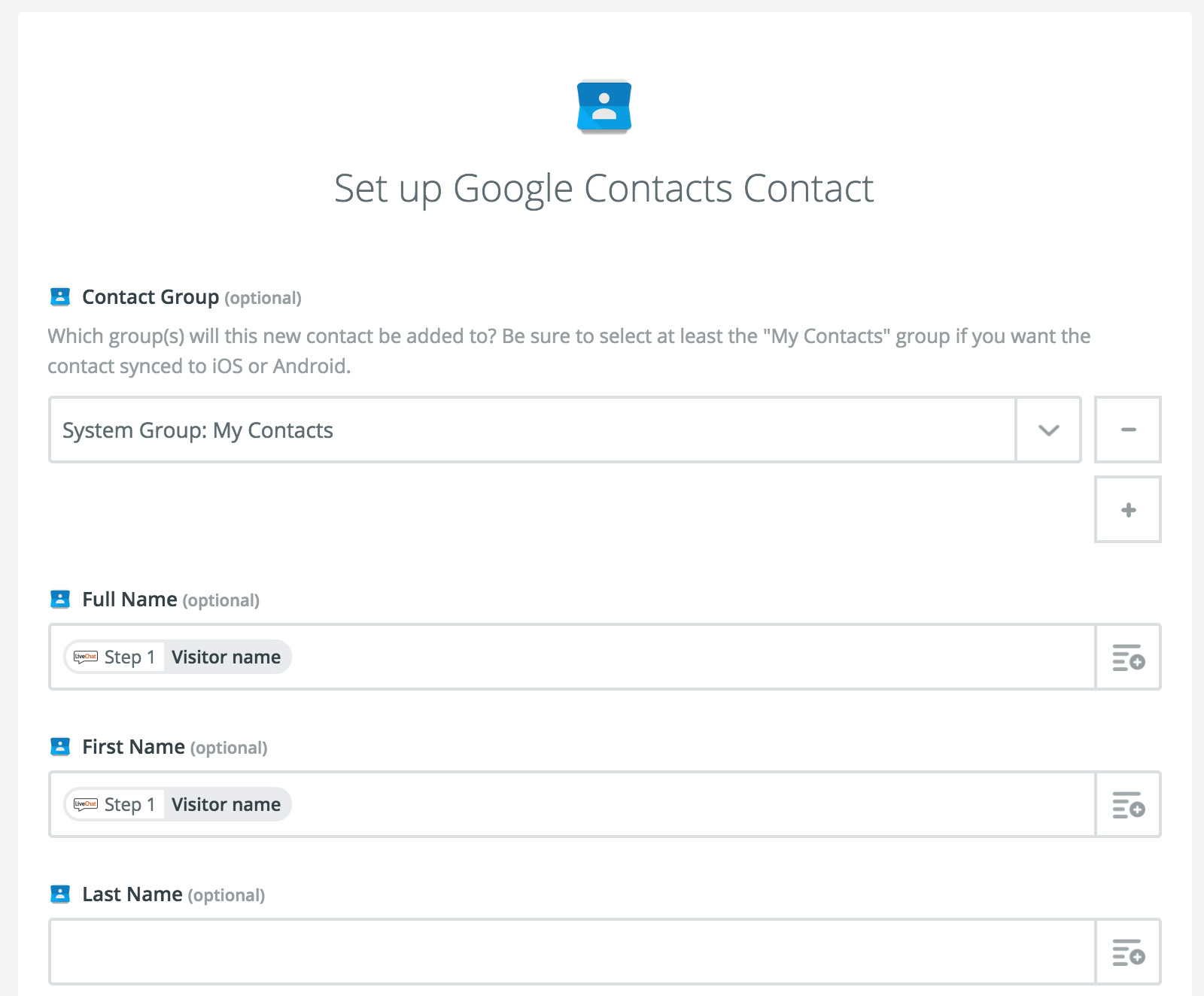 Mapping Google Contacts fields