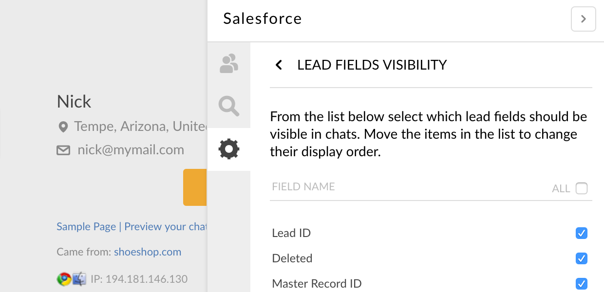 Choosing fields visibility in LiveChat