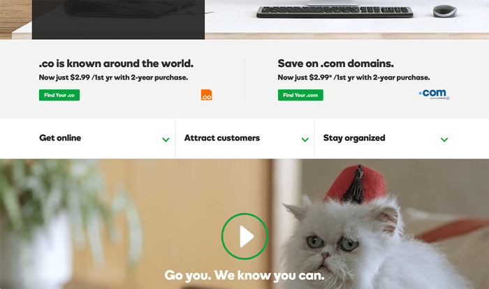 Call to action examples: Specific GoDaddy CTA